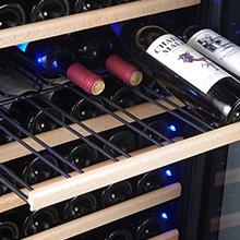 Bodega-154-bottle-wine-cooler-sliding-wood-iron-shelves