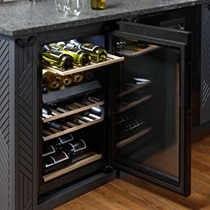 Haier-44-bottle-wine-refrigerator-four-sliding-wooden-shelves